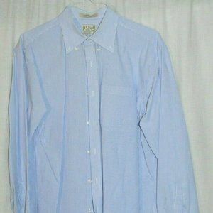 LL Bean Blue Stripe Traditional Fit M Reg Cotton